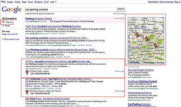 Example of Google Search with Google Places